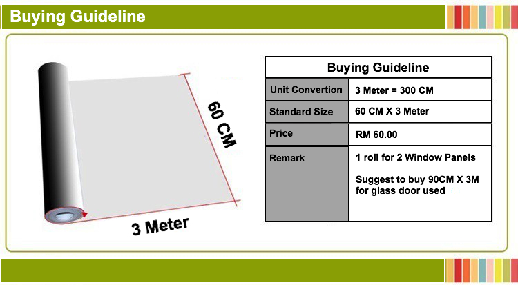 Buying Guideline 60CM X 3M